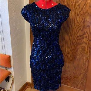 Vintage 1980s blue sequin bodycon cocktail dress